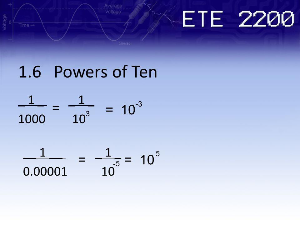 1.6 Powers of Ten _ 1 _ _ 1 _ 1000 10 = = 10 __ 1 __ _ 1 _ 0.00001 10