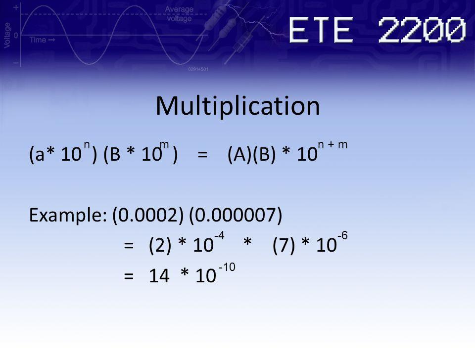 Multiplication n. m. n + m. (a* 10 ) (B * 10 ) = (A)(B) * 10 Example: (0.0002) (0.000007) = (2) * 10 * (7) * 10 = 14 * 10
