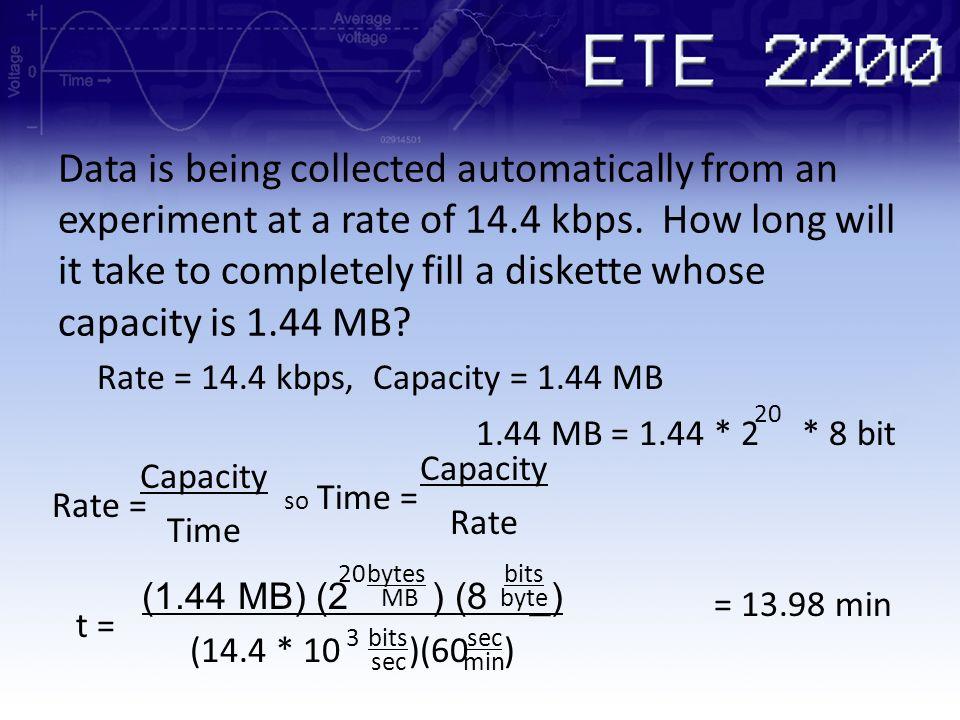 Rate = 14.4 kbps, Capacity = 1.44 MB 1.44 MB = 1.44 * 2 * 8 bit