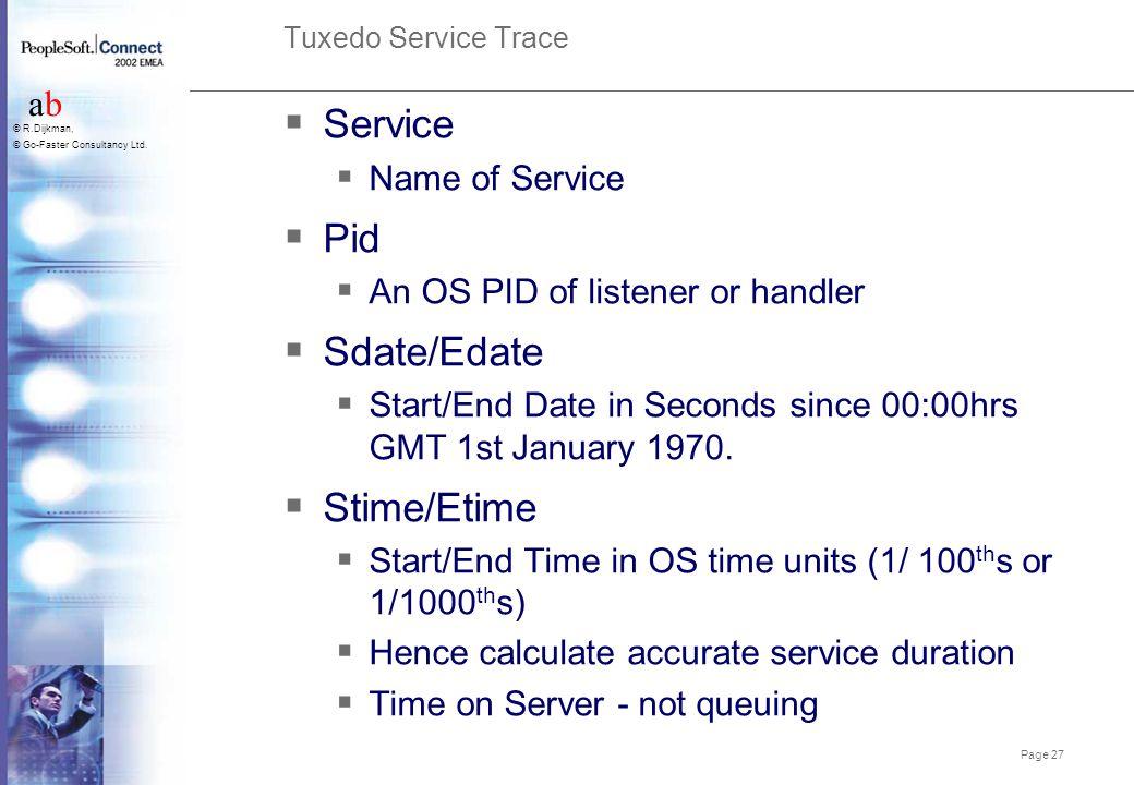 Service Pid Sdate/Edate Stime/Etime Name of Service