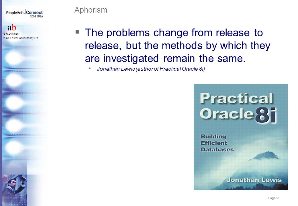 Aphorism The problems change from release to release, but the methods by which they are investigated remain the same.