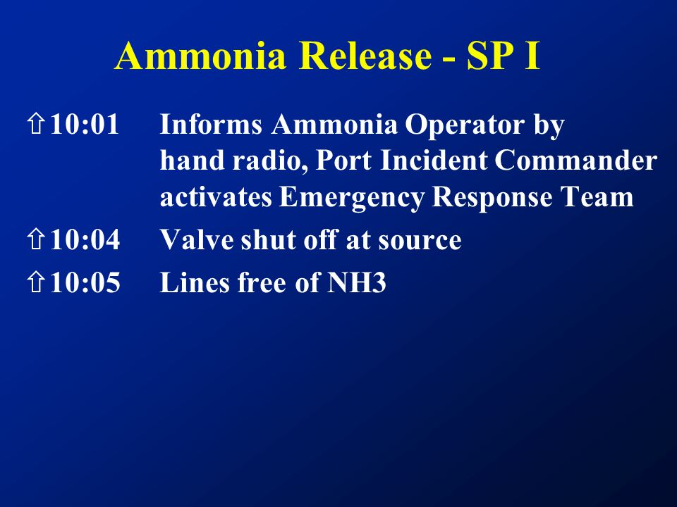 Ammonia Release - SP I 10:01 Informs Ammonia Operator by hand radio, Port Incident Commander activates Emergency Response Team.