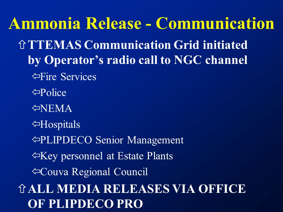 Ammonia Release - Communication