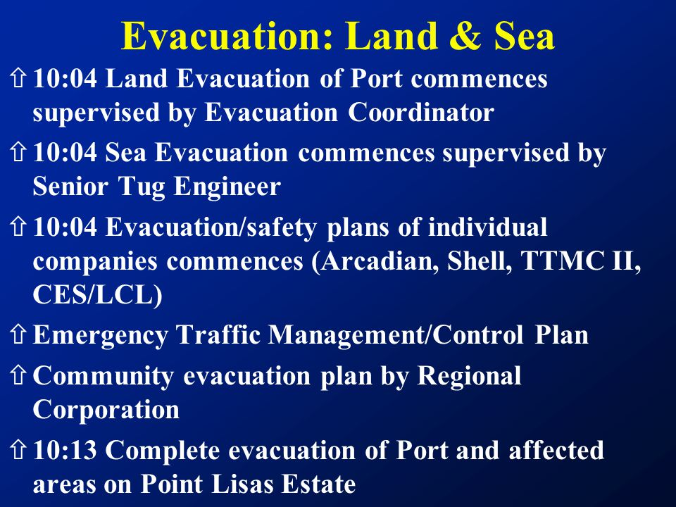 Evacuation: Land & Sea 10:04 Land Evacuation of Port commences supervised by Evacuation Coordinator.