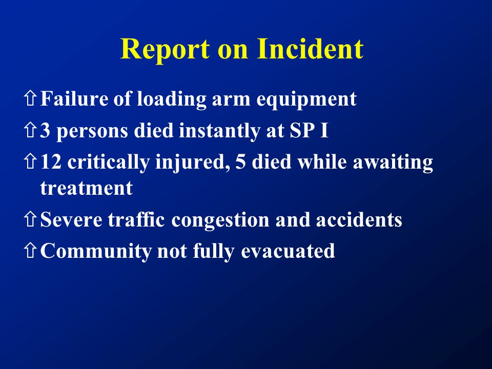 Report on Incident Failure of loading arm equipment