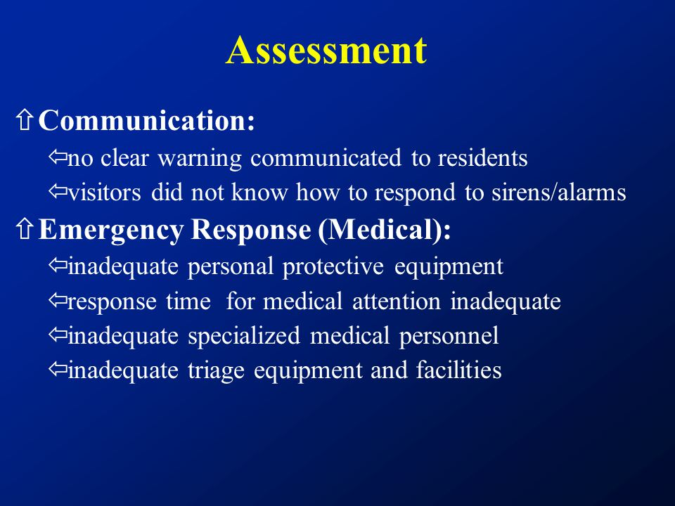 Assessment Communication: Emergency Response (Medical):