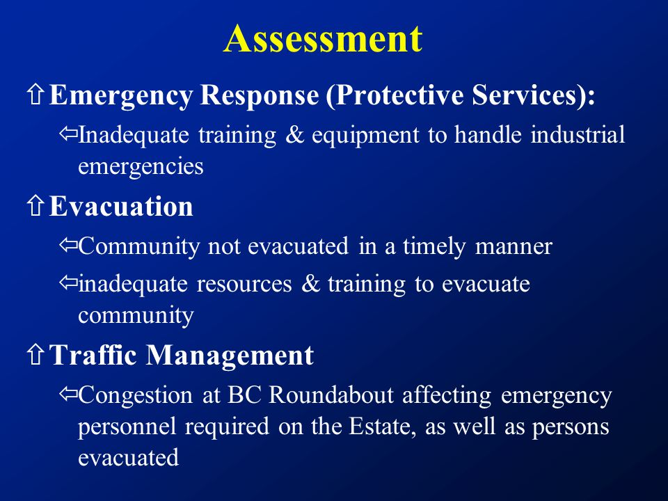 Assessment Emergency Response (Protective Services): Evacuation