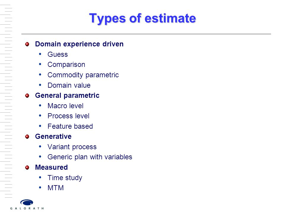 Types of estimate Domain experience driven Guess Comparison
