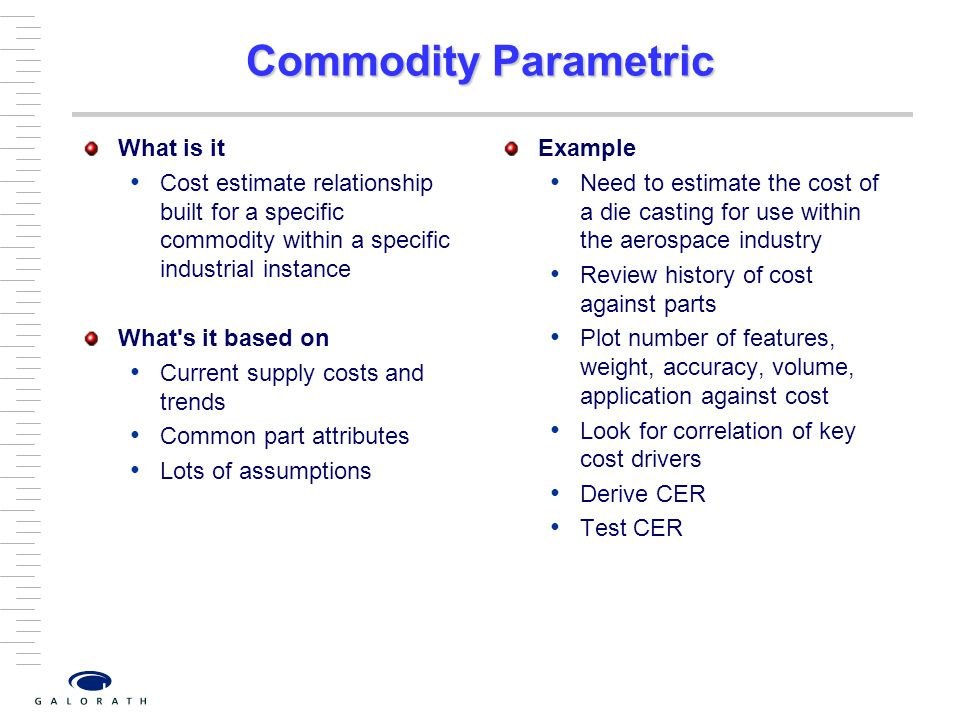 Commodity Parametric What is it