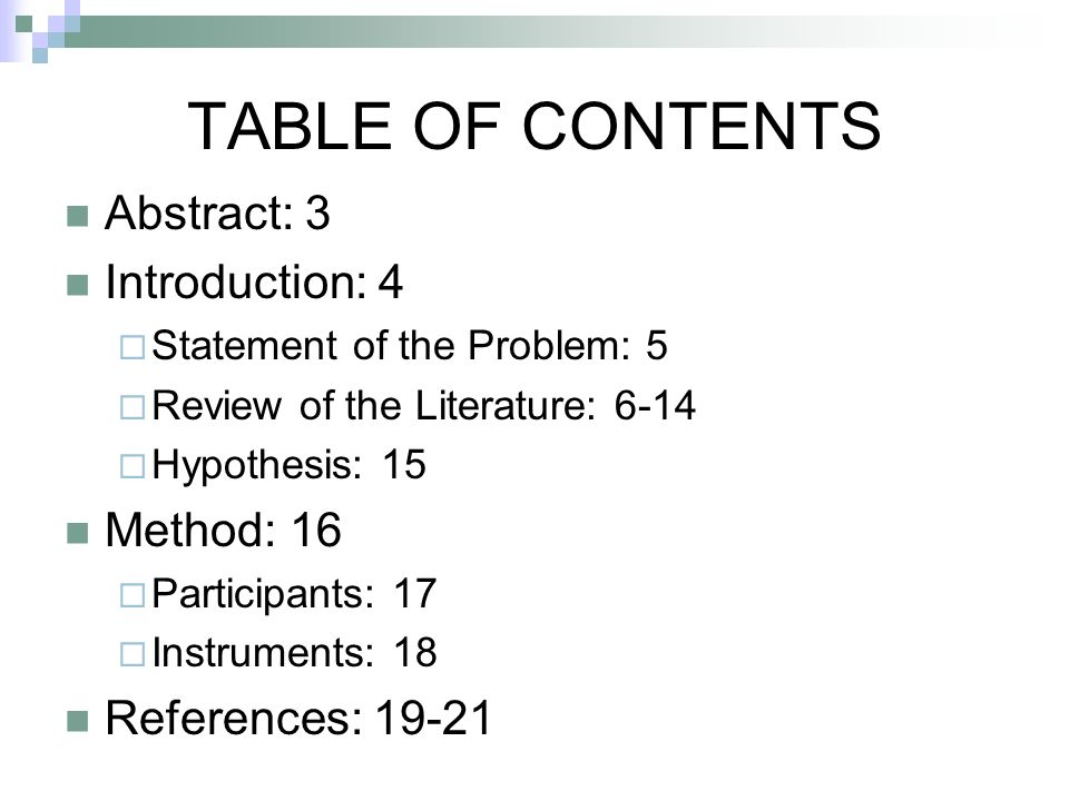 TABLE OF CONTENTS Abstract: 3 Introduction: 4 Method: 16
