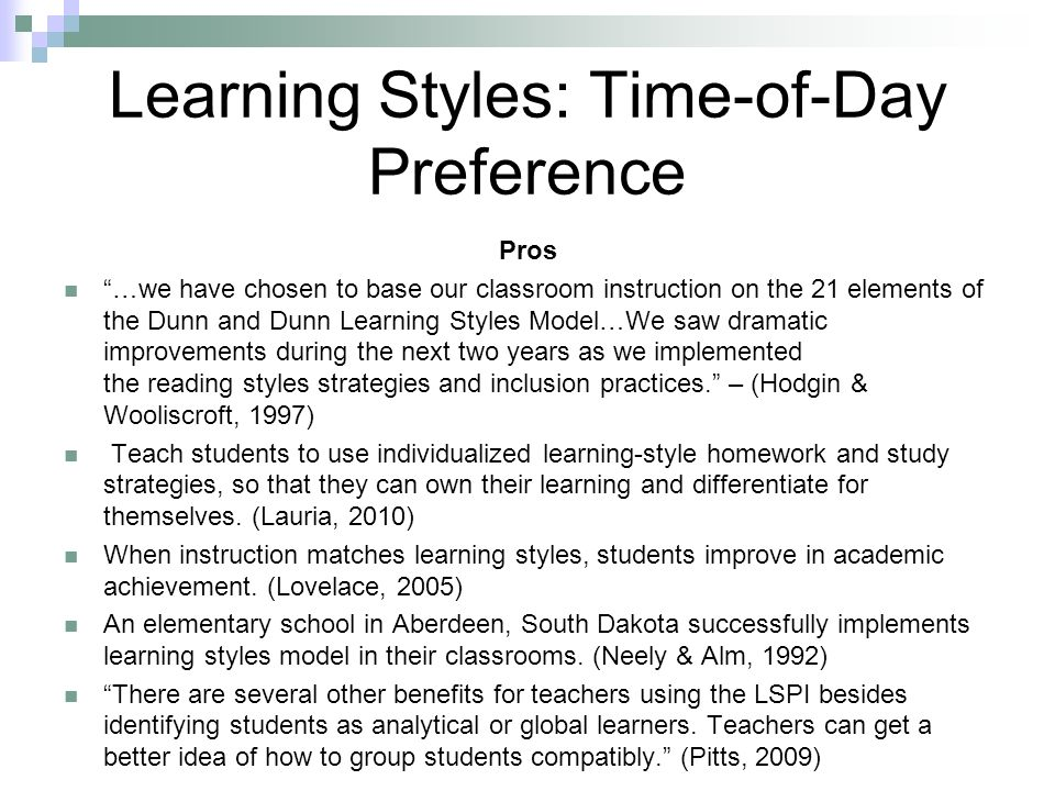 Learning Styles: Time-of-Day Preference