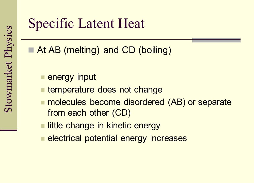 Specific Latent Heat At AB (melting) and CD (boiling) energy input