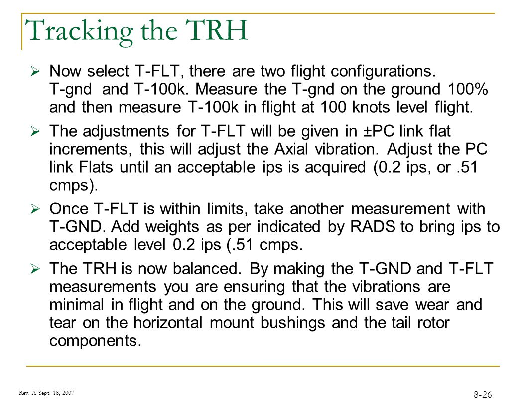 Tracking the TRH Direction of. Rotation. Target.