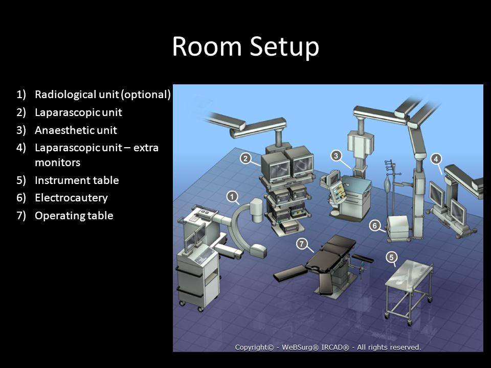 Room Setup Radiological unit (optional) Laparascopic unit