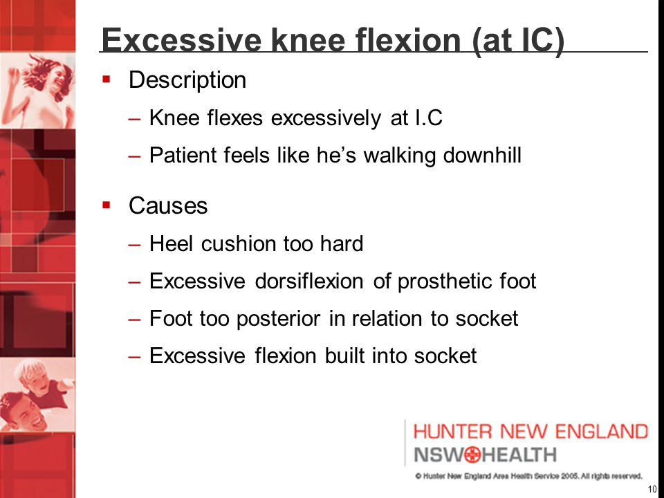 Excessive knee flexion (at IC)