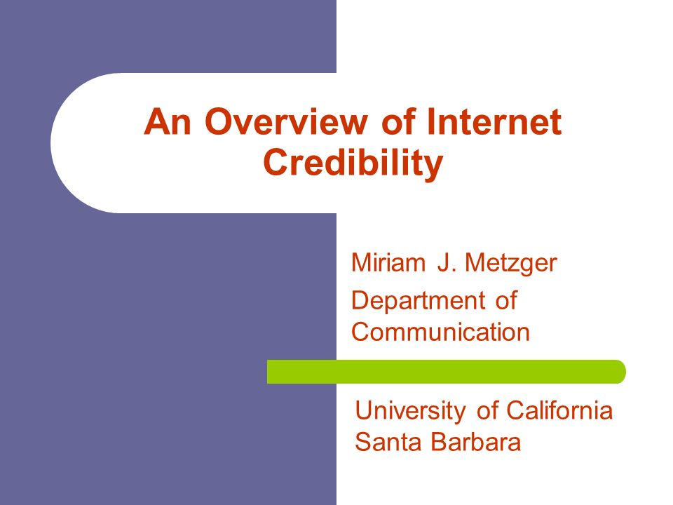 internet credibility Internet credibility for a person who does not do research on the internet, credibility may not mean a whole lot due to ease of access to the internet, a lot of people use this source to retrieve information.