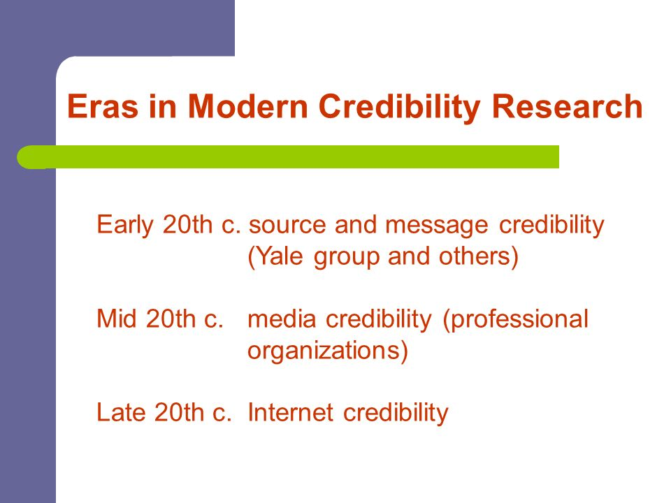 Eras in Modern Credibility Research