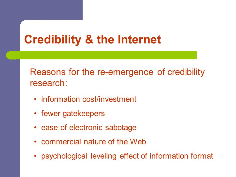Credibility & the Internet