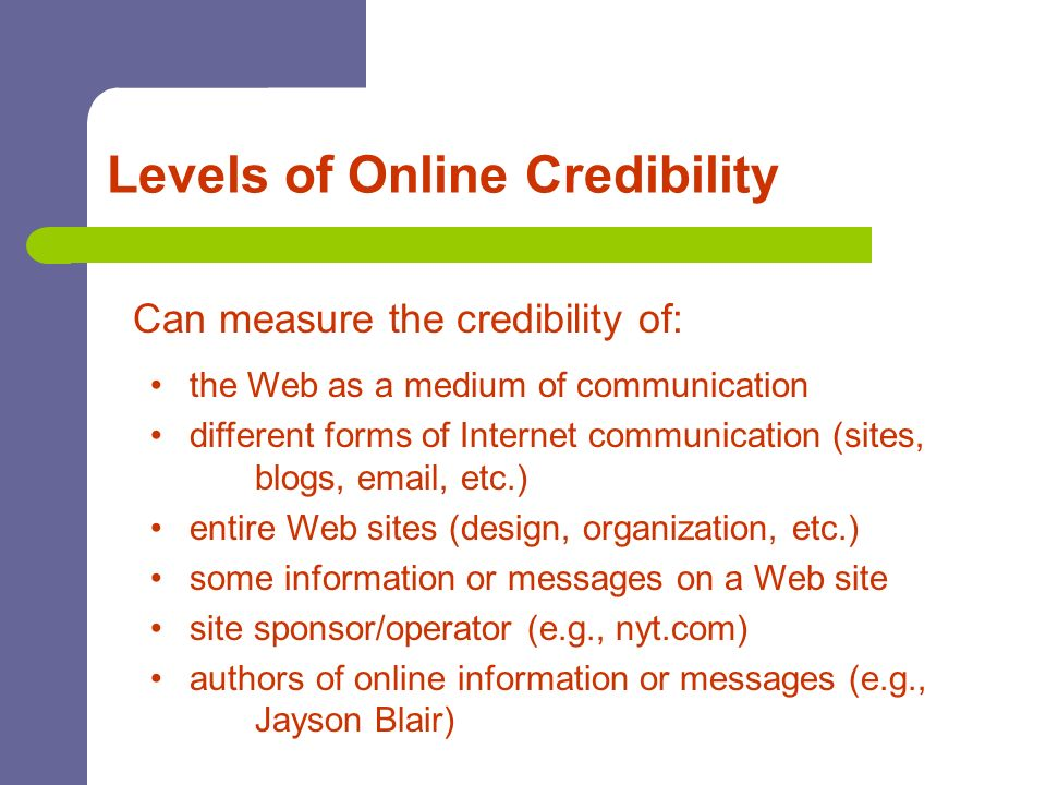 Levels of Online Credibility