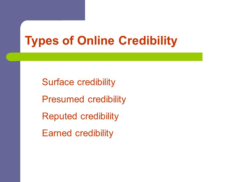 Types of Online Credibility