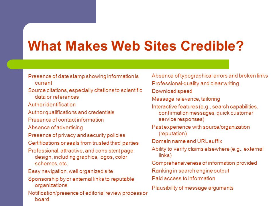 What Makes Web Sites Credible