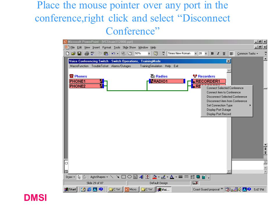 Place the mouse pointer over any port in the conference,right click and select Disconnect Conference