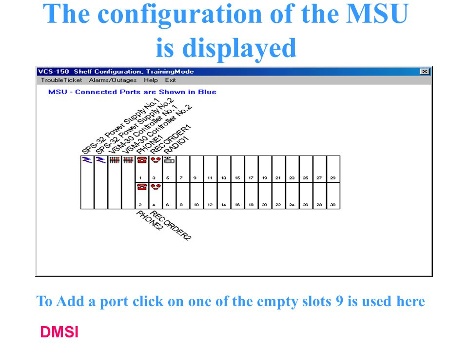 The configuration of the MSU is displayed
