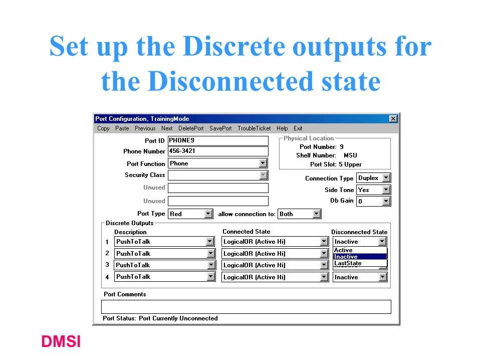Set up the Discrete outputs for the Disconnected state