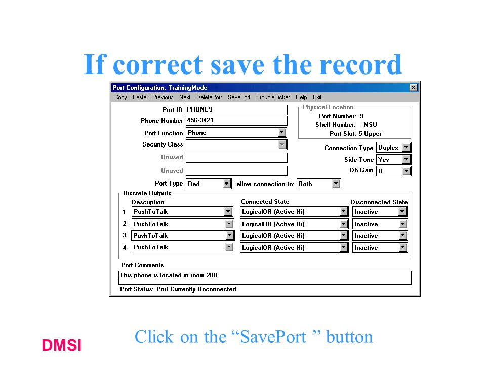 If correct save the record