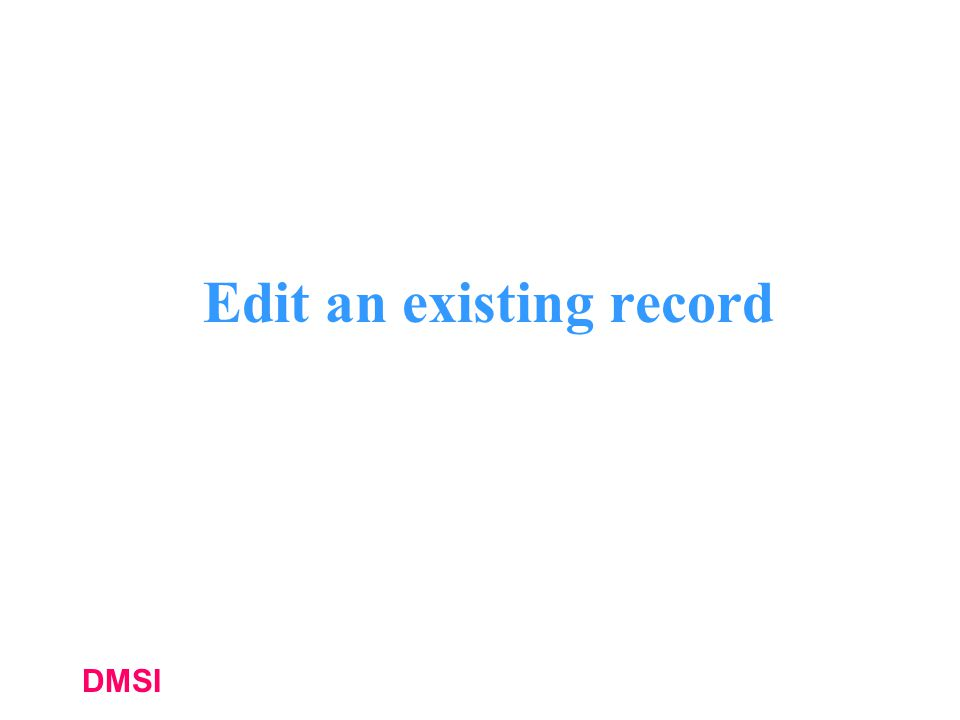 Edit an existing record