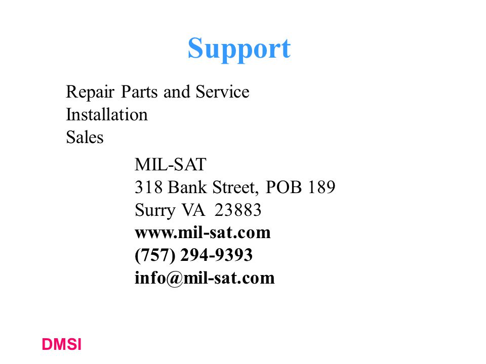 Support Repair Parts and Service Installation Sales MIL-SAT