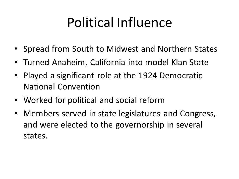 Political Influence Spread from South to Midwest and Northern States