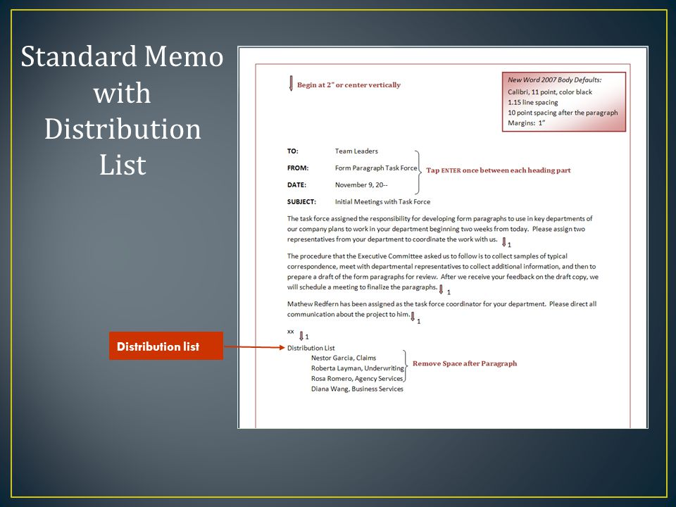 Standard Memo with Distribution List