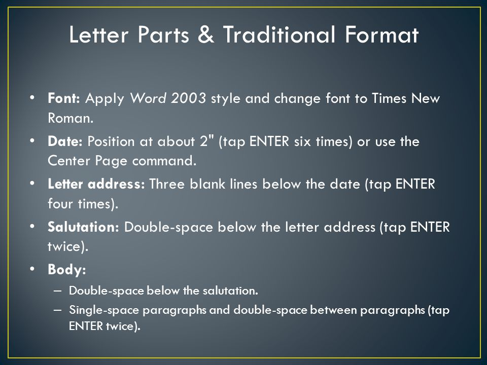 Letter Parts & Traditional Format