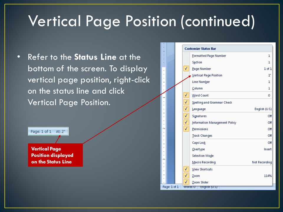 Vertical Page Position (continued)