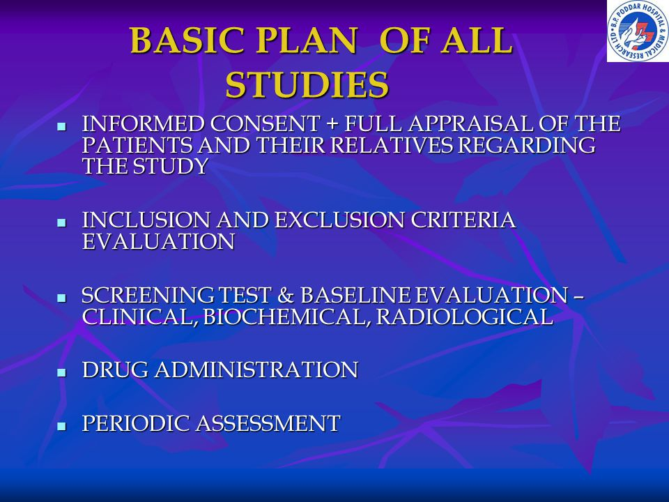 BASIC PLAN OF ALL STUDIES