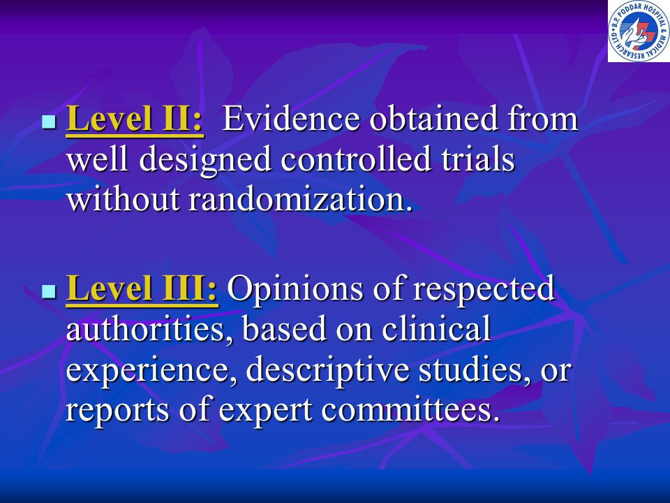 Level II: Evidence obtained from well designed controlled trials without randomization.