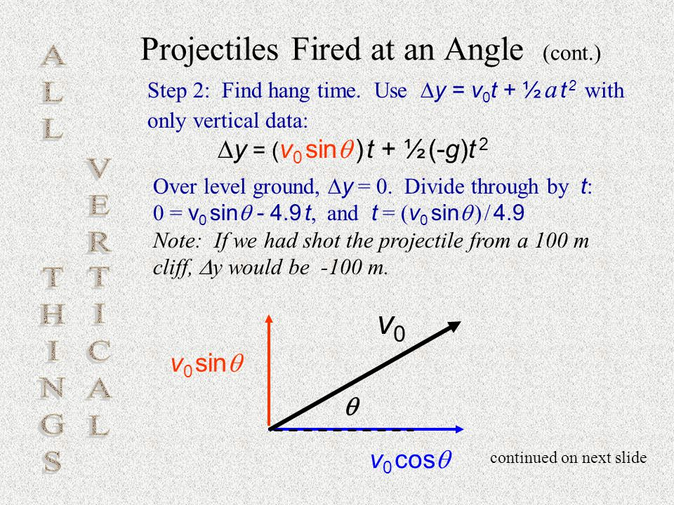 Projectiles Fired at an Angle (cont.)