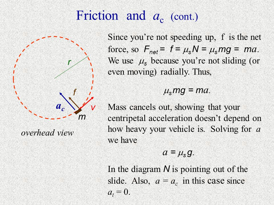 Friction and ac (cont.) ac