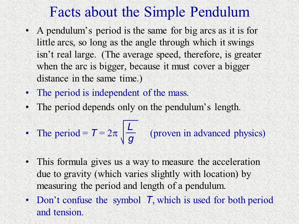 Facts about the Simple Pendulum