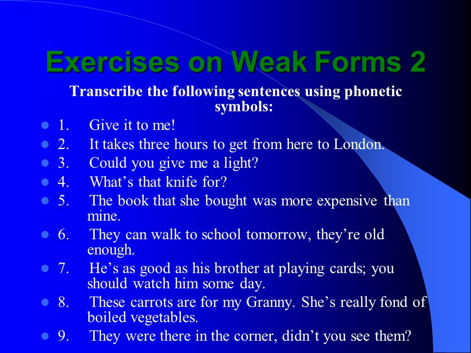 Exercises on Weak Forms 2