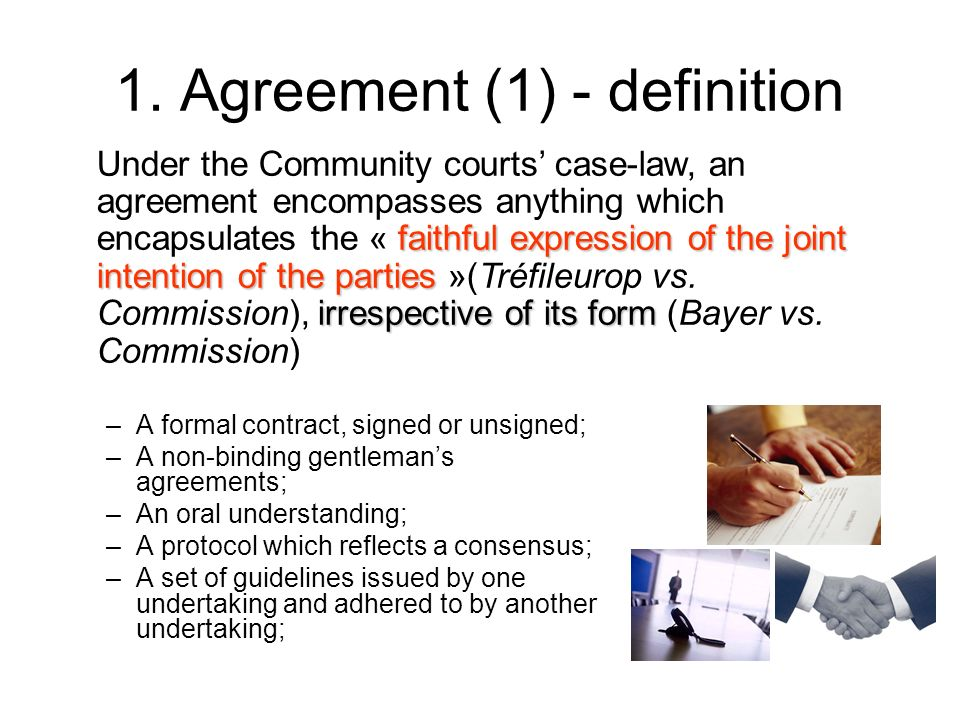 1. Agreement (1) - definition