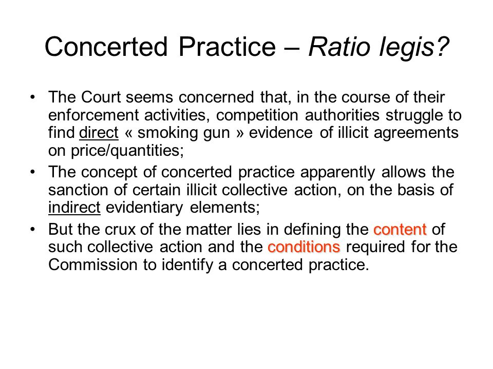 Concerted Practice – Ratio legis