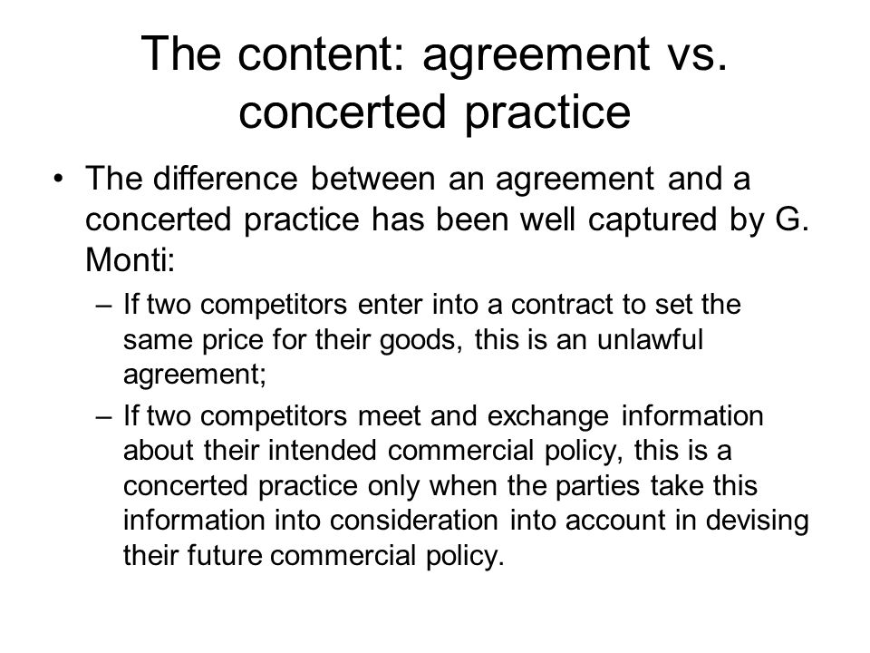 The content: agreement vs. concerted practice