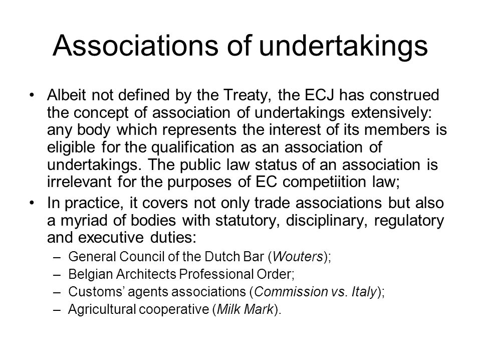 Associations of undertakings