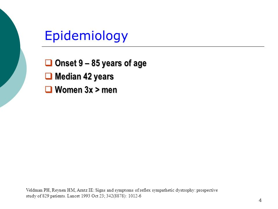 Epidemiology Onset 9 – 85 years of age Median 42 years