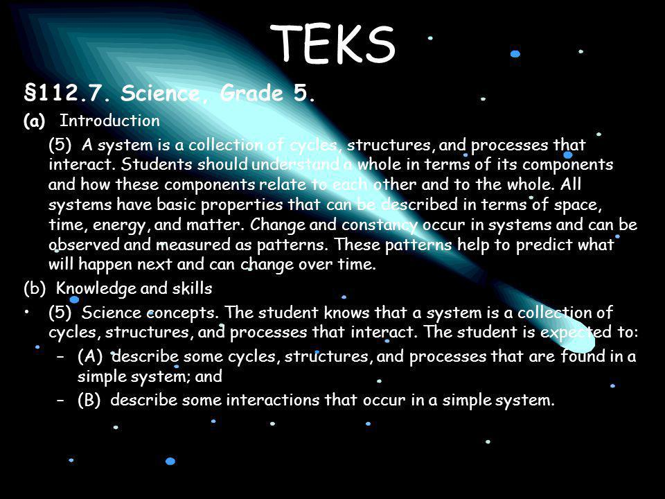 TEKS § Science, Grade 5. (a) Introduction