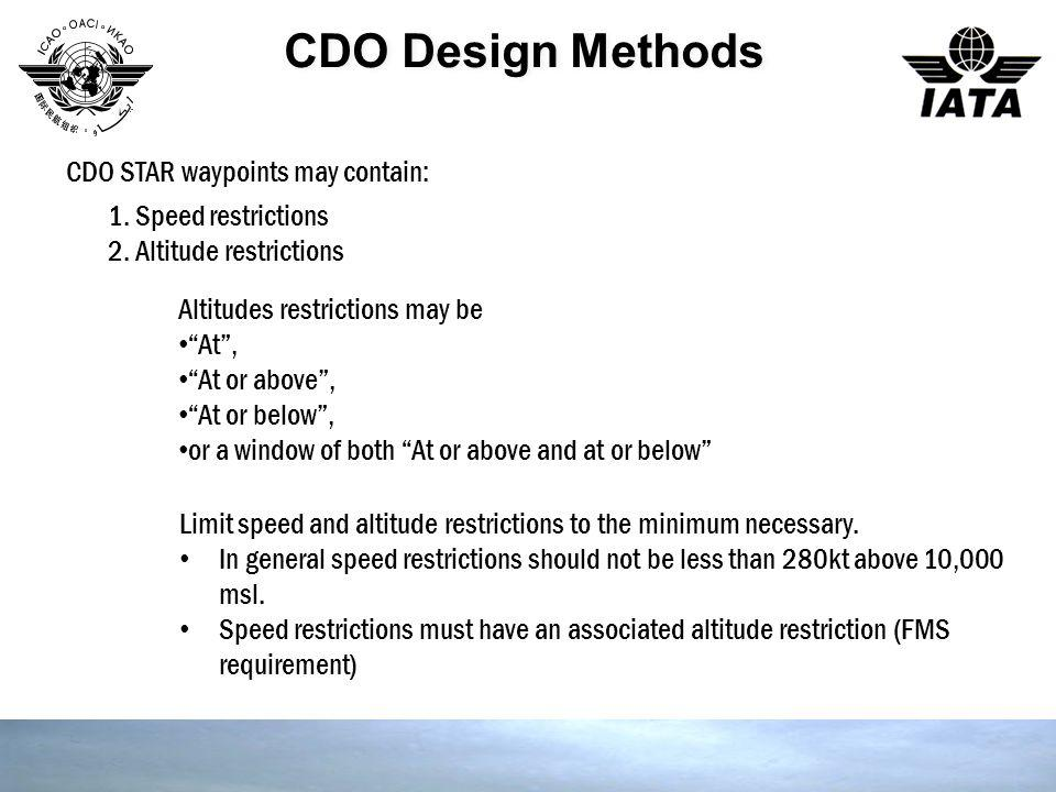 CDO Design Methods CDO STAR waypoints may contain: