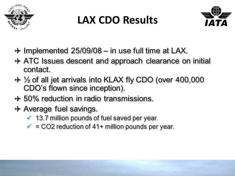 LAX CDO Results Implemented 25/09/08 – in use full time at LAX.