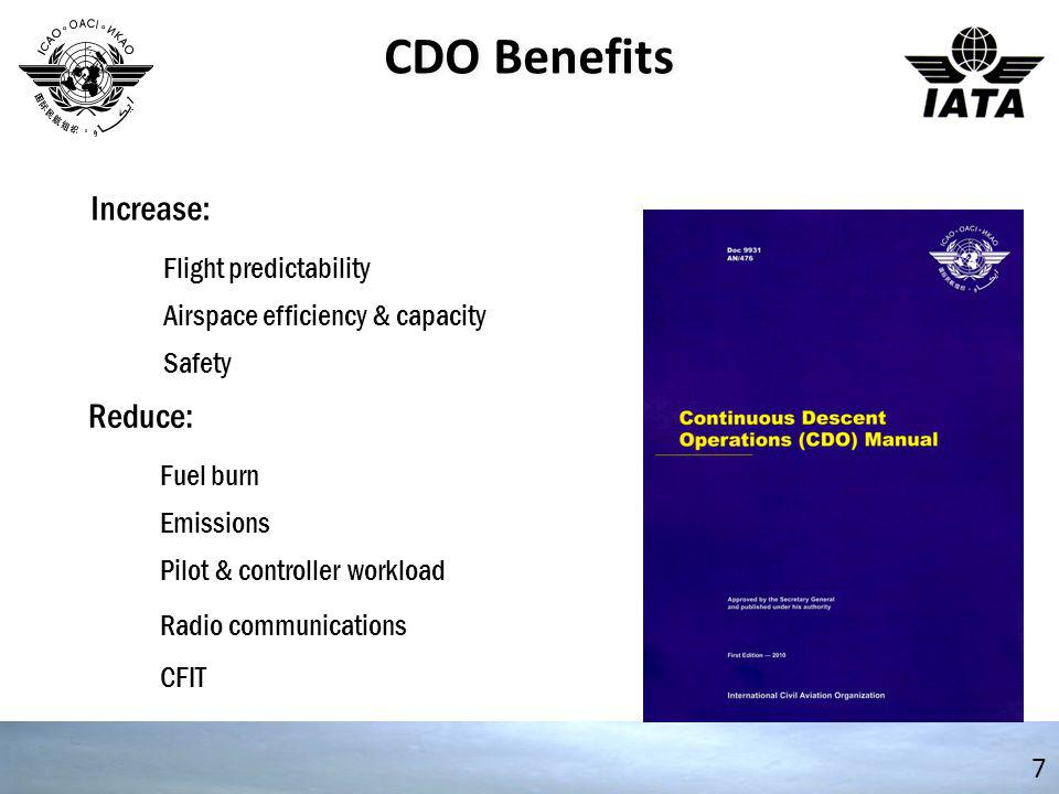 CDO Benefits Increase: Reduce: Flight predictability